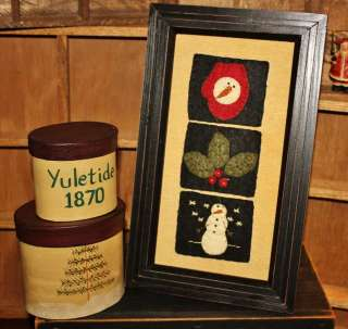 Snowman Mitten Holly Frame❄Primitive STITCHERY❄Stitched❄Rustic