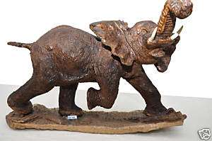 AFRICAN ELEPHANT WOOD SCULPTURE CARVING HELP AFRICA