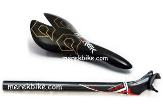 Full 3k carbon fiber bike seat post seatpost + saddle