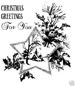 Un MOUNTED Christmas card rubber stamp Star 3x2.75