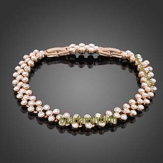 18K rose gold GP swarovski crystal modern bracelet 402