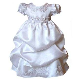 New Satin Puffed Skirt Christening Baptism Gown (Dress & Bonnet)