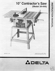 Delta 10 Table Saw Instruction Manual Model 34 444