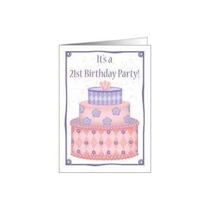 Whimsical Cake 21st Birthday Invitation Card: Toys & Games