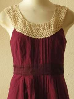 Anthropologie Floreat purple swiss dot tulle lace strap pleated shift