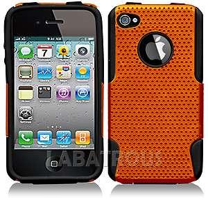 iPhone 4, 4S Soft Black Rubber & Metallic Orange Hard Back Case