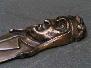 Antique Sgd Solid Bronze French Letter Opener Dante Alighieri