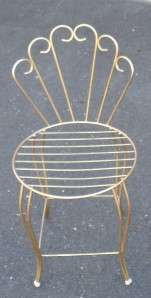 Vintage Retro Scrolled Gold Toned Tone Metal Vanity Chair Seat Stool
