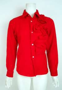 COMME DES GARCONS Red Wool Blouse/Tattered Floral Applique SALE