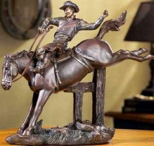 Western American Cowboy Wild Bucking Horse Rodeo Rider Figurine Old