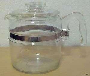 VINTAGE PYREX FLAMEWARE 6 CUP COFFEE POT & LID 7756 B