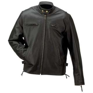 Mens Solid Black Buffalo Riding Leather Jacket Lined