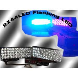 Blue and Red 44 LED Strobe Light Kit, 3 Model Flashing Automotive