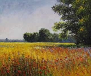 Repro Handmade Oil Painting Claude Monet Oat Fields