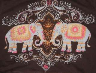 WOMENS LUCKY BRAND JEANS BROWN ELEPHANT PEACE COLORFUL ZIPPER HOODIE
