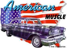 1957 Blue Pontiac Star Chief Hot Rod USA T Shirt 57