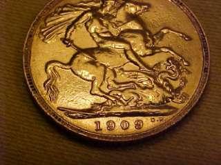 BRITISH KING EDWARD 7th FULL GOLD SOVEREIGN 1909   IN BRIGHT V.GOOD