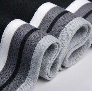 Mens Winter Black+Gray+White Stripes Long Scarf