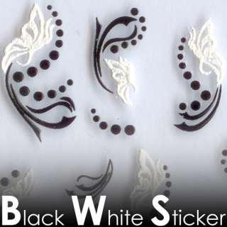 MV21 Black White Cotton 3D Nail Art Tips Decal Sticker