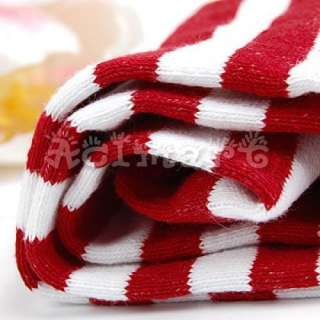 Dress Striped Thigh High Socks Opaque Cotton Stocking Red&White