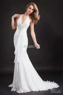 white Halter Straps Mermaid Wedding dresses bridal gown Evening dress