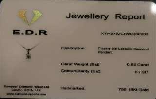 CLASSIC SET SOLITAIRE Diamond Pendant 18ct White Gold