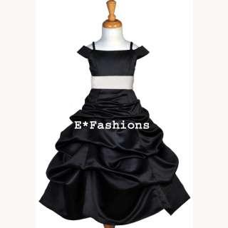 BLACK WHITE BRIDAL WEDDING PAGEANT FLOWER GIRL DRESS 4 5 6 7 8 9 10 11