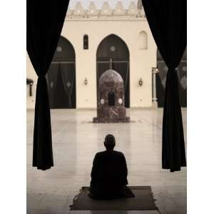Man Praying at the Mosque of Al Hakim, Cairo, Egypt, North