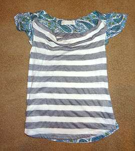 ANTHROPOLOGIE grey white striped Shirt blouse with blue floral L