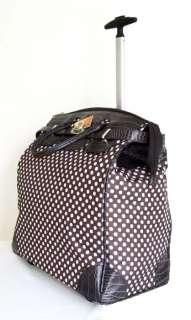 /Laptop Bag Tote Duffel Rolling Wheel Padded Case Brown Polka Dots