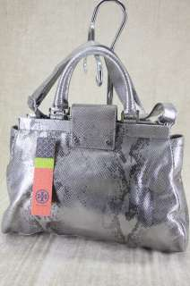 Tory Burch Holland metallic Silver python Snake Leather Satchel bag