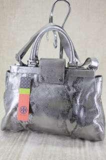 Tory Burch Holland metallic Silver python Snake Leather Satchel bag