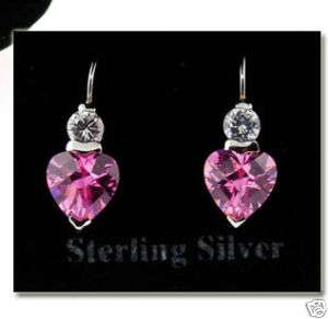 925 Sterling Silver Pink CZ HEART EARRINGS Boxed~ NEW