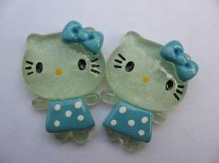 20 Resin Dressed Hello Kitty Button W/Bow Blue K023 1