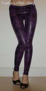 shiny purple zebra animal print leggings pants pt384 XS