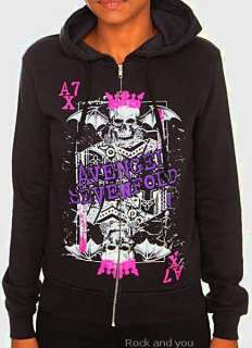 Avenged Sevenfold A7X metal rock Girls Zip Up Hoodie S NWT