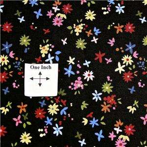 FabriQuilt Cotton Fabric, Pink, Yellow, Red, Blue Flowers on Black