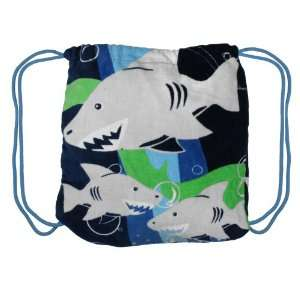 Capelli Hungry Sharks Beach Towel Backpack NAVY: Toys