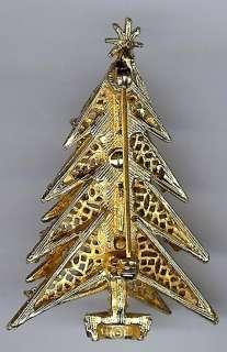 SIGNED ART VINTAGE COLORFUL RHINESTONE DECORATED CHRISTMAS TREE PIN