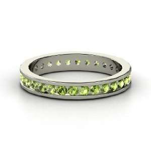 Alondra Eternity Band, 14K White Gold Ring with Green