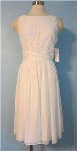 10 Adrianna Papell White Crocheted Lace Cotton Full Skirt Ruched Waist
