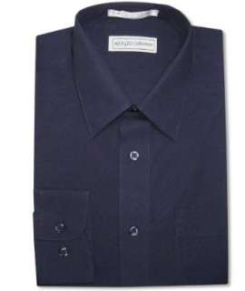 Mens 100% COTTON NAVY BLUE Dress Shirt w/ Convertible Cuffs Clothing