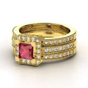 Va Voom Ring, Princess Ruby 14K Yellow Gold Ring with
