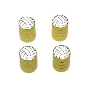 Volleyball   Sport Tire Rim Valve Stem Caps   Yellow