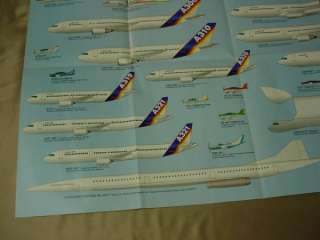 Unused AEROSPATIALE AIRLINER POSTER Airplanes PLANE CHART 20 x 29