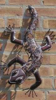 Metal Die Cut Lizard Gecko Wall Hanging Garden Decor