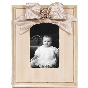 Antique Bevel Picture Frame in Linen with Baby Carriage Jewel Baby