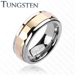 Tungsten Carbide Multi Square Faceted Rose Gold Spinning Band Ring Sz