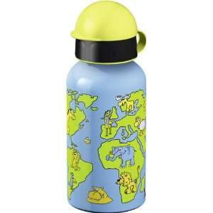 Emsa Drinking Flask 0.4L With World Map Design: Kitchen & Dining