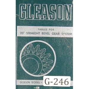 Straight Bevel Gear System Tables Manual Year (1953) Gleason Books